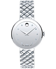 Women's Swiss Sapphire Diamond-Accent Stainless Steel Quilted Bracelet Watch 30mm