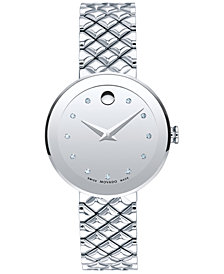 Movado Women's Swiss Sapphire Diamond-Accent Stainless Steel Quilted Bracelet Watch 30mm