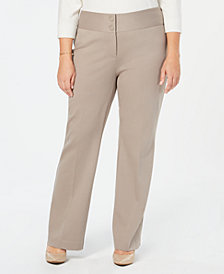 Alfani Plus Size Wide-Leg Tummy-Control Pants, Created for Macy's