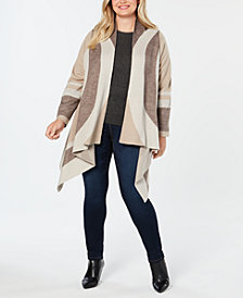 I.N.C. Plus Size Colorblocked Draped Cozy Cardigan, Created for Macy's