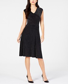 NY Collection Petite Ribbed A-Line Dress