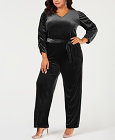 c8164ee7e05 NY Collection Plus Size Belted Velvet Jumpsuit