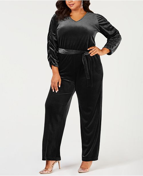 fc1aa44e347 NY Collection Plus Size Belted Velvet Jumpsuit   Reviews - Pants ...