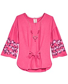 Big Girls Tie-Front Top & Necklace