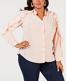 NY Collection Plus Size Ruffle-Sleeve Shirt