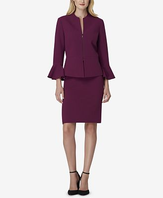 Tahari Asl Zip Front Peplum Skirt Suit Wear To Work Women Macy S