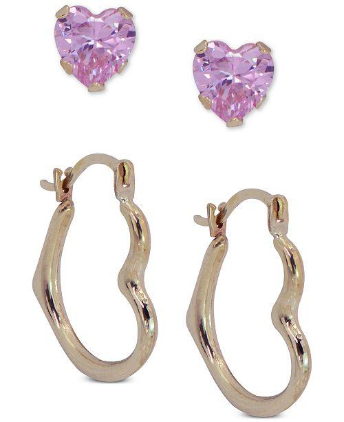Macy's 2-Pc. Set Cubic Zirconia Heart Stud & Polished Heart Hoop Earrings in 10k Gold