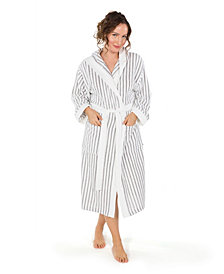 Linum Home Alev Terry Stripe Hooded Unisex Bath Robe