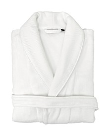 Waffle Terry Bath Robe with Satin Piped Trim