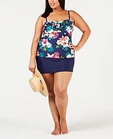 Island Escape Plus Size Tankini Top & Swim Skirt, Created for Macy's