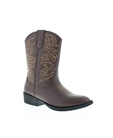 Little and Big Boys and Girls Ranch Unisex Pull On Western Cowboy Fashion Comfort Boot