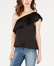 Material Girl Juniors' Ruffled One-Shoulder Top, Created for Macy's
