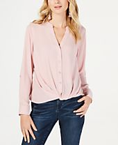 INC Twist-Front Button-Up Top, Created for Macy's