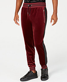 I.N.C. Men's Velour Side Stripe Jogger Pants, Created for Macy's
