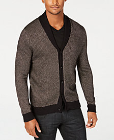I.N.C. Men's Colorblocked Metallic Cardigan with Skull Shaped Buttons, Created for Macy's