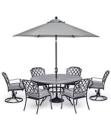 "Grove Hill II Outdoor Cast Aluminum 7-Pc. Dining Set (61"" Round Table, 4 Dining Chairs & 2 Swivel Chairs) With Sunbrella® Cushions, Created For Macy's"