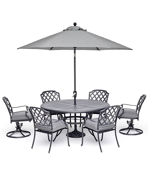 """Furniture Grove Hill II Outdoor Cast Aluminum 7-Pc. Dining Set (61"""" Round Table, 4 Dining Chairs & 2 Swivel Chairs) With Sunbrella® Cushions, Created For Macy's"""