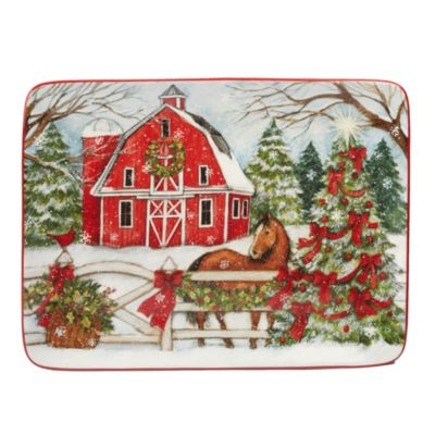Christmas on the Farm Rectangular Platter