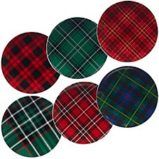 Certified International Christmas Plaid 6-Pc. Dessert Plate asst.