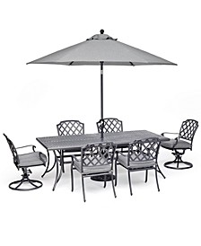 "Grove Hill II Outdoor Cast Aluminum 7-Pc. Dining Set (84"" X 42"" Table, 4 Dining Chairs & 2 Swivel Chairs) With Sunbrella® Cushions, Created For Macy's"