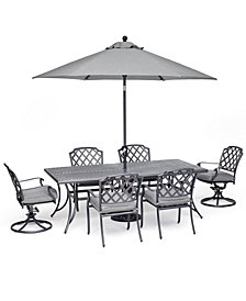 """Grove Hill II Outdoor Cast Aluminum 7-Pc. Dining Set (84"""" X 42"""" Table, 4 Dining Chairs & 2 Swivel Chairs) With Sunbrella® Cushions, Created For Macy's"""