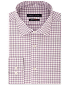 Tommy Hilfiger Men's Fitted TH Flex Performance Stretch Moisture-Wicking Purple Check Dress Shirt