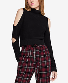 BCBGeneration Cold-Shoulder Turtleneck Crop Sweater