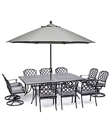 "Grove Hill II Outdoor Cast Aluminum 11-Pc. Dining Set (84"" X 60"" Table, 6 Dining Chairs & 4 Swivel Chairs) With Sunbrella® Cushions, Created For Macy's"