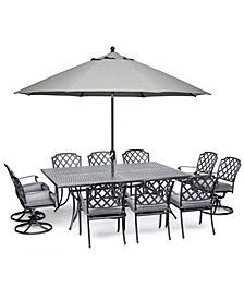 """Grove Hill II Outdoor Cast Aluminum 11-Pc. Dining Set (84"""" X 60"""" Table, 6 Dining Chairs & 4 Swivel Chairs) With Sunbrella® Cushions, Created For Macy's"""