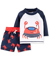 21991d1500 Carter's Baby Boys 2-Pc. Rash Guard & Swim Trunks Set