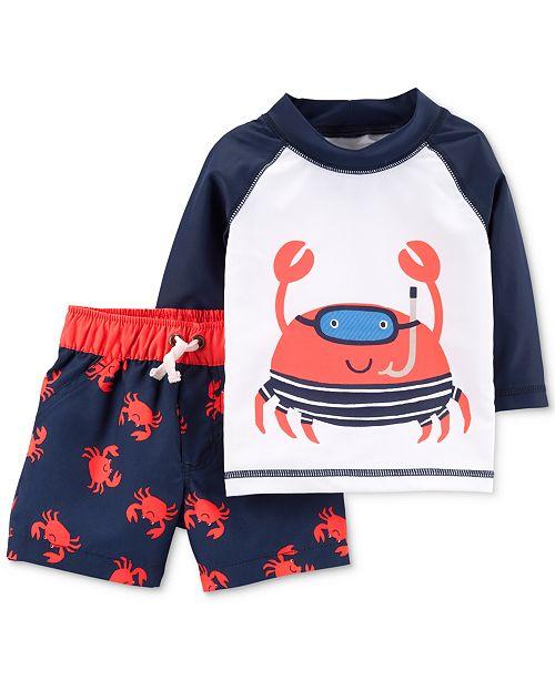 b10d144c62 Carter's Baby Boys 2-Pc. Rash Guard & Swim Trunks Set & Reviews ...