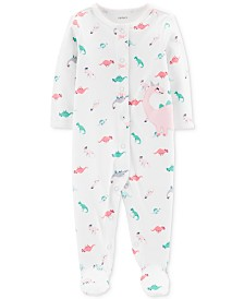 Carter's Baby Girls 1-Pc. Dinosaur Cotton Footed Pajamas