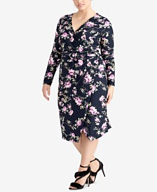 RACHEL Rachel Roy Trendy Plus Size Floral Midi Dress