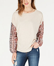 Gypsies & Moondust Juniors' Waffle-Knit Sheer-Sleeve Top