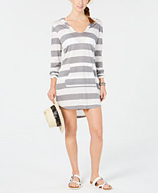 Miken Juniors' Striped Long-Sleeve Hoodie Cover-Up