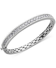 Cubic Zirconia Hinged Bangle Bracelet in Sterling Silver