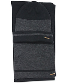 Sean John Men's Striped Cuffed Beanie & Scarf Set, Created for Macy's