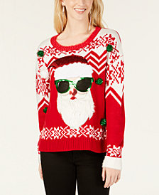 Hooked Up by IOT Juniors' Embellished Santa Sweater
