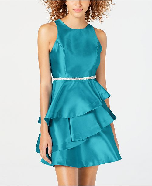 5b46fe503ee Dear Moon Juniors  Embellished Ruffled Fit   Flare Dress - Dresses ...