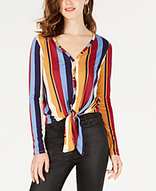 Polly & Esther Juniors' Striped Button-Front Tie-Hem Top