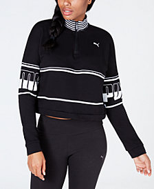 Puma Rebel Turtleneck Half-Zip Cropped Sweatshirt
