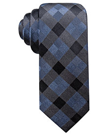 Ryan Seacrest Distinction™ Men's Monte Check Slim Silk Tie, Created for Macy's