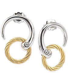 CHARRIOL White Topaz Two-Tone Circle Cable Drop Earrings in PVD Stainless Steel and Gold-Tone