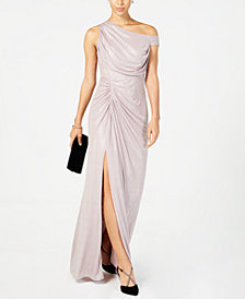 Adrianna Papell Cold-Shoulder Metallic Gown