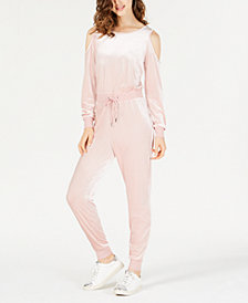 Material Girl Active Juniors' Cold-Shoulder Velvet Jumpsuit, Created for Macy's