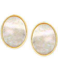 Mother-of-Pearl Oval Stud Earrings in 14k Gold