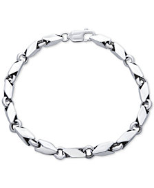 Men's Polished Link Bracelet in Sterling Silver
