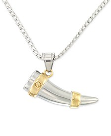 "Shark's Tooth 24"" Pendant Necklace in Stainless Steel & Yellow Ion-Plate"