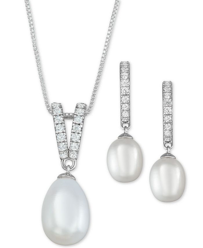 Macy's - Cultured Freshwater Pearl (9 x 10mm & 7 x 9mm) & Cubic Zirconia Jewelry Set in Sterling Silver