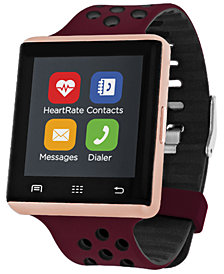 iTOUCH Women's Air 2 Merlot & Black Silicone Strap Touchscreen Smart Watch 45mm